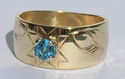 Gold Bird Feathers Stones Rings - RbfSt26x - MicMaq Star and feathers 14k yellow gold with 5mm blue Topaz