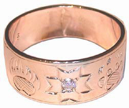 Gold Paws Face Stones Rings - RStpf10 - MikMak Star with Bearclaw and Wolfpaw and .05ct Diamond