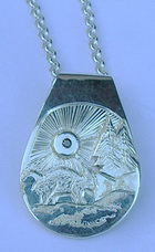 Mountain Pendants - MP6 - Teardrop mountain Goat and stream