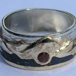 Wedding Rings - MnRStIn-5- Lapis lake and 3mm Garnet - gold on silver