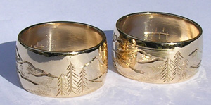 Animal themed Mountain Rings - MnREng5- Scene of Lake, Sun, Moon, Eagle in flight and Trees
