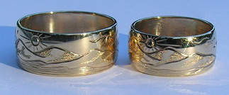 Mountain Rings - Engraved Mountain rings gold silver custom animals