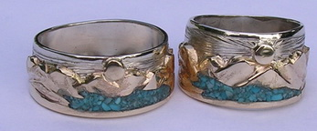 Stone Chip Inlay Mountain Rings - MnRStIn Bear Tooth range ( sharp version ) and Lake