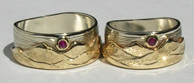 Gem Stone Appliqued Mountain Rings - MnRAp7 - With 2mm Ruby