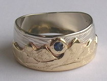Gem Stone Appliqued Mountain Rings - MnRAp3 - with sapphire sun