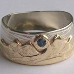 Wedding Rings - Custom Mountain Rings appliqued and gems turquoise diamonds gold
