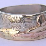Wedding Rings - MnRMM5a- Rose and yellow gold on white gold base
