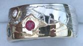 Animal - Gems Mountain Rings - MnRAn12- Bear, Platinum Sun, Sapphire, Diamond and a Ruby
