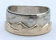 Animal-Gems Mountain Rings - MnRAn15- Eagle and small diamond sun