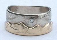 Animal - Gems Mountain Rings - MnRAn15- Eagle and small diamond sun
