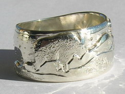 Animal themed Mountain Rings - MnRAn3 Goat Silver on silver