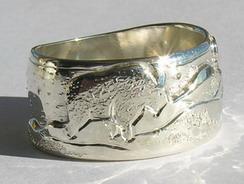 Animal themed Mountain Rings - MnRAn3 Goat Silver on silver