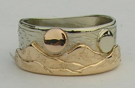 Appliqued Mountain Rings - MnRAp20 - Yellow Mountains on White gold with Rose Gold Moon and White Gold Sun
