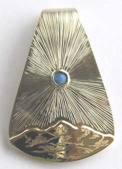 "Mountain Pendants - MP1 , 1-1/2"" X 1"" Yellow gold mountains with Opal Sun"