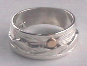 Appliqued Mountain Rings - MnRAp15 - Silver on silver with gold sun
