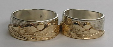 Appliqued Mountain Rings - MnRAp19 - 14k yellow Gold on 14k white Gold with small Sun - with Mountain Stream flowing
