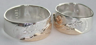Animal themed Mountain Rings - MnRAn19- Turtle and Hawk, platinum Moon rose gold Sun