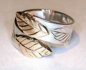 Non-Native Appliqued Rings - NNrAp2 - Gold on silver Oak leaf Wrap-around