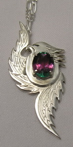 "Gem Stoned Pendants - PenSt19b - Phoenix with 14k silver head, and pins - 15mm X 11mm turmaline, size approximately 70mm X 30mm , ( 2-3/4"" X 1-1/4"")"