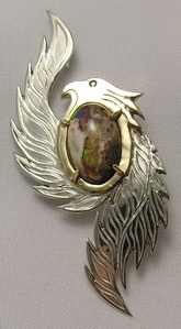"Gem Stoned Pendants - PenSt19a - Phoenix with 14k gold head, bezel and pins - 17mm X 12mm Opal and .01 ct diamond eye size approximately 70mm X 30mm , ( 2-3/4"" X 1-1/4"")"