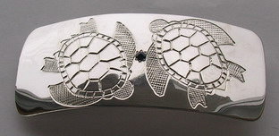 Barrettes - Barrette 9 - Sea Turtles with Sapphire