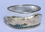 Stone Chip Inlay Mountain Rings - MnRcus46- Sierra Nevada's and turquoise water