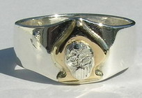 Non-Native Appliqued Rings - NNrAp13 - Appliqued Ace of Spades with appliqued Skull