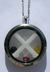 Gem Stoned Pendants - PenSt20c enclosed 3mm zircon, citrine, garnet and onyx in Stainless Steel