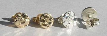 Stud Earrings - SP 18a- gold or silver Soccer ball stud earrings - 6mm