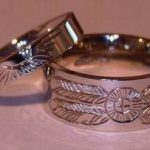 Wedding Rings - MDe2 Thin and Wide Band with Sun and Medicine Wheel