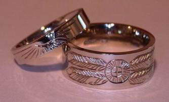 Engraved Medicine Wheel Rings - MDe2 Thin and Wide Band with Sun and Medicine Wheel