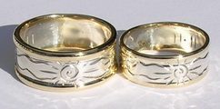 Appliquéd Rings - Sun Wave ring 1.5mm yellow gold ribs