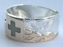 Stone Chip Inlay Mountain Rings - MnRStIn-4- Swiss Flag - with Mountains
