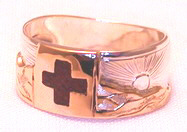 Stone Chip Inlay Mountain Rings - MnRStIn-3- Red Cross with Mountains
