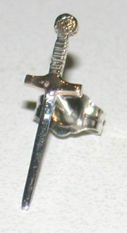 Non-Native Earrings sword stud in gold and silver