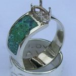 Wedding Rings - RgApSt15 -Tapered ring with turquoise and Lapis Inlay