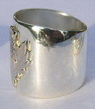 Non-Native Appliqued Rings - NNrAp4 3/4' wide Thistle 14k white on yellow and yellow on silver