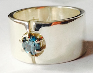 Gem Stone Rings - .45ct blue diamond on silver ring