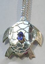 Gem Stoned Pendants - PenSt18 - Turtle and Tanzanite