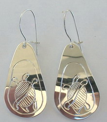 Tear Drop Earrings - ERn24 - silver tear drop earrings Turtle and Sun