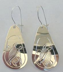 Tear Drop Earrings - ERn24 - silver tear drop earrings Turtle and Sun