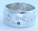 Gem Stone Rings - RSt24 - Engraved Vines with Diamonds and Sapphire
