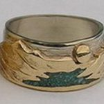 Wedding Rings - MnRStIn-1- Waterton Lakes, Yellow on white with turquoise chip river