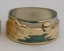 Stone Chip Inlay Mountain Rings - MnRStIn-1- Waterton Lakes, Yellow on white with turquoise chip river
