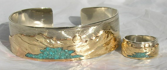 Mountain Bracelets - Mnb13 - Waterton Lake in Turquoise on yellow gold mountains on white Gold cuff bracelet