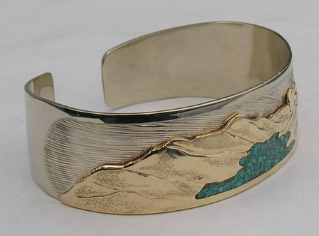 custom native jewelry Bracelets, Custom, silver gold platinum ,Waterton Lakes gold on gold with turquoise chip water