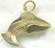 Silver Pendants - Pen25a - Cut-out Whale in gold, about 1-1/4""