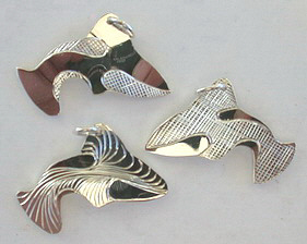 Silver Pendants - Pen25b - Cut-out Whale in gold, about 1-1/4""