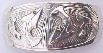 Barrettes - Barrette 1 - Dancing Whale with Peridot Eyes Barrette