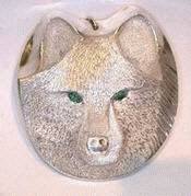 Cast Pendants - PenC20 - Wolf Head and Emerald eyes pendants
